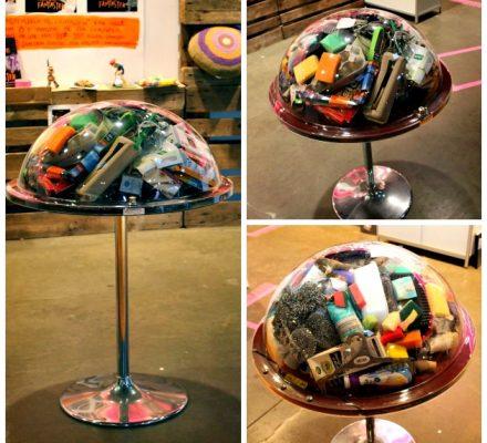 glasmontré med genbrug
