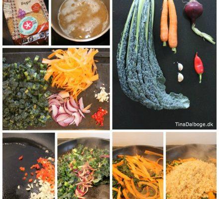 grøntsager med bulgur - palmekål, savoykål, gulerødder, løg, chili og hvidløg