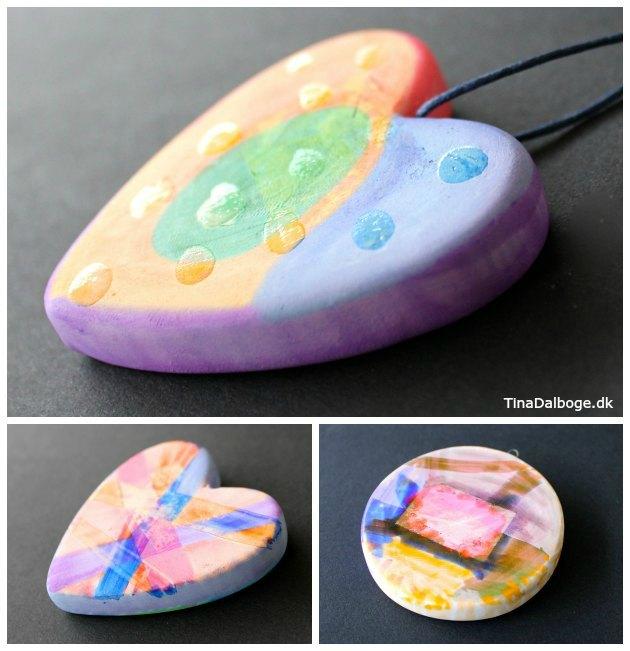 hjerte og julekugler som børn kan lave ved at male og dekorere med tuscher og lak