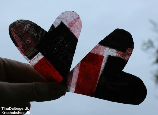 hjerter af paverpol stof og stråsilke papir