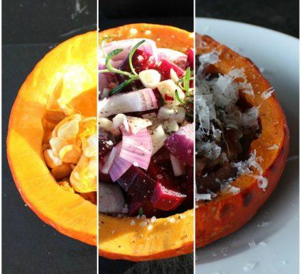 hokkaido bagt med rødbeder, hvidløg, rødløg og rosmarin
