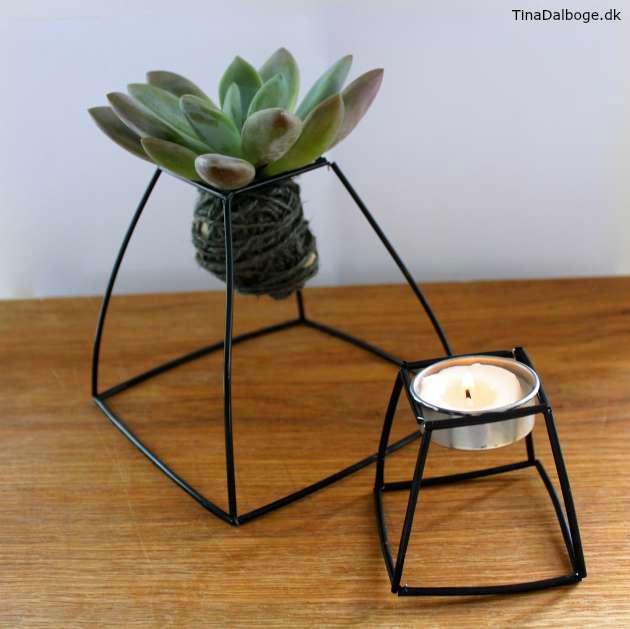 holder af konstruktionsrør til kokedame plante og lysestage