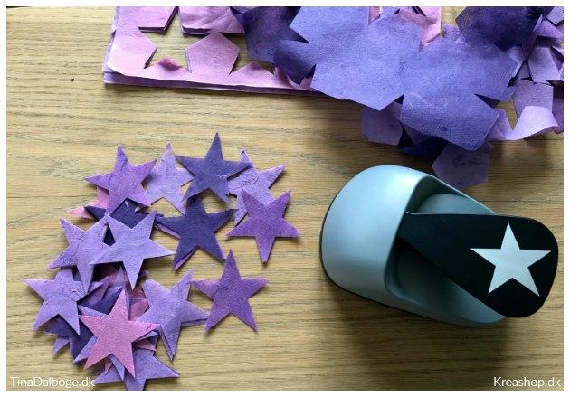 ide til bordkort udstanset stjerner lilla tinadalboge kreashop