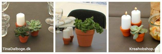 ide til fest med grå dug og varme farver i terracotta lys og planter