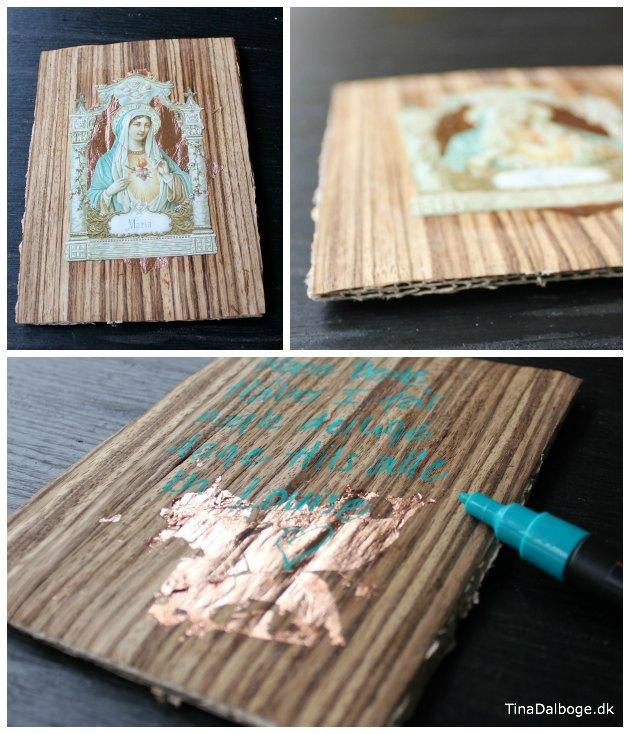 ikonplade med Jomfru Maria med træfiner, glansbillede og kobber. Anderledes julekort