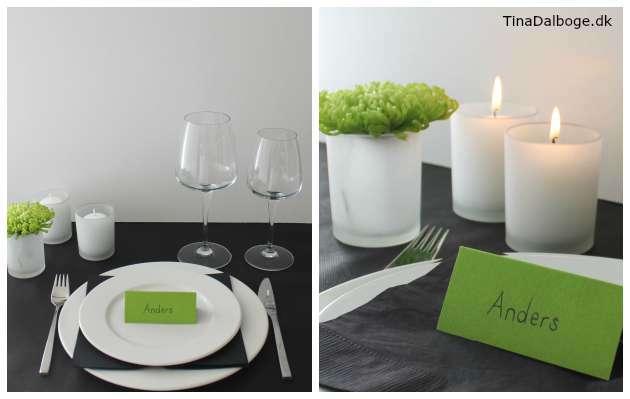 Simpel og enkel borddækning i limegrønne farver
