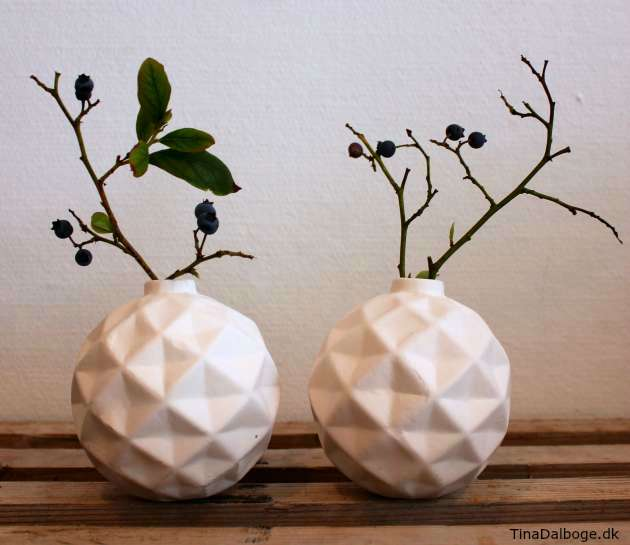 julekugler med diamantfacon brugt som vase kreahobshop