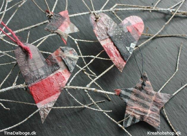 julepynt lavet af stofrester paverpol og fjer