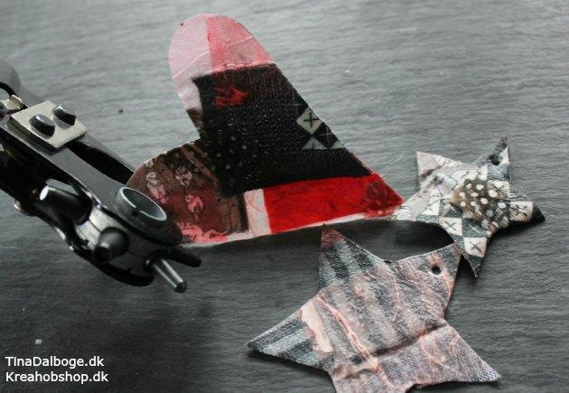 julepynt lavet med paverpol stof fjer og papir