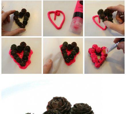 julepynt, hjerte lavet af lærkekogler