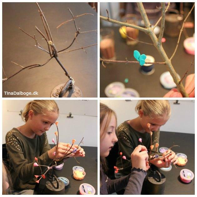 kreativ ide som børn kan lave med silk clay med små træer med blomster og blade