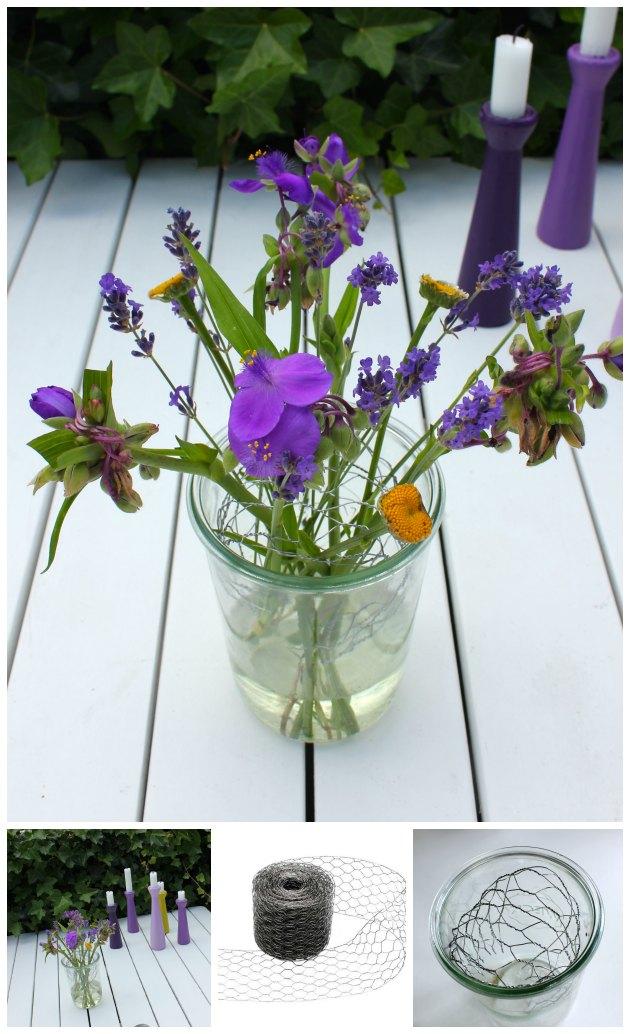 Let måde at lave fint blomster-bordpynt på og billige lysestager i ...