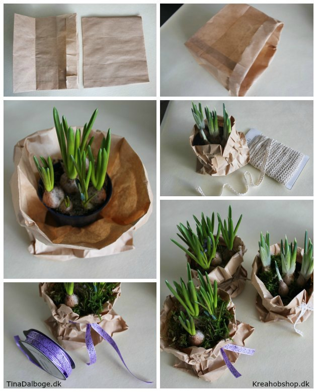 løgplanter i papirsposer som bordpynt til fester