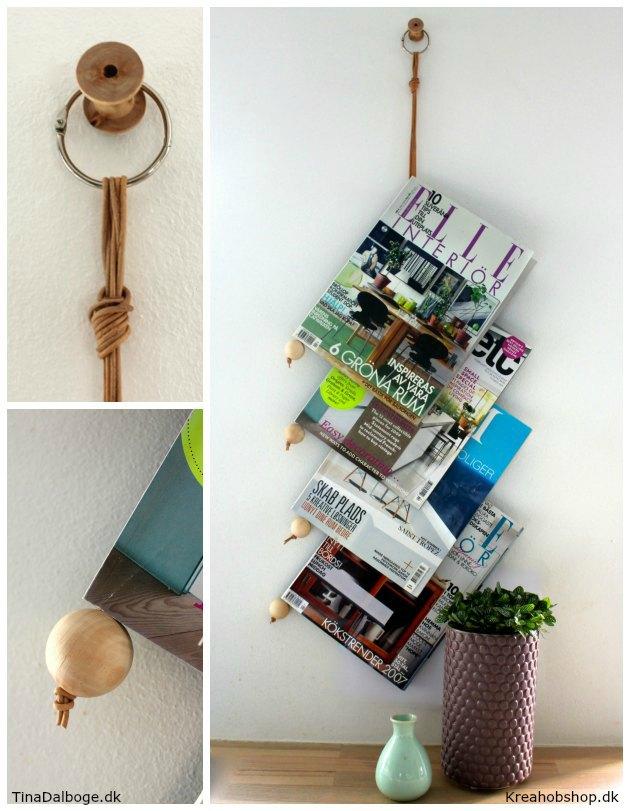 lav selv en holder til blade og magasiner der kan hænges på en væg kreahobshop trækugler lædersnøre og bogring
