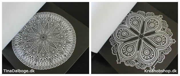mandalas antistress malebog til voksne med sort baggrund til farveblyanter fra kreahobshop