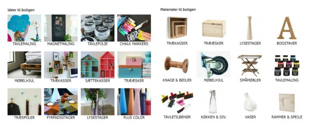 materialer til boligstyling i kreahobshop