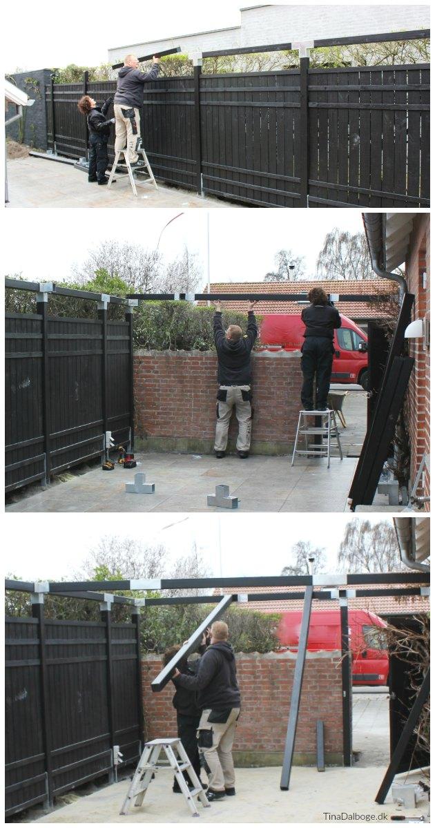 montering af cubic beslag og rustik træhegn fra plus tinadalboge