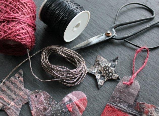 ophængssnor til julepynt jutegarn bomuldssnor og knyttegarn