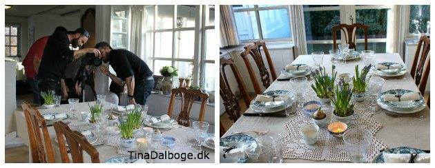 påskepyntet bord med perlehyacinter