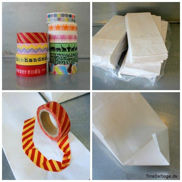 pakkekalender med hvide poser og maskingtape