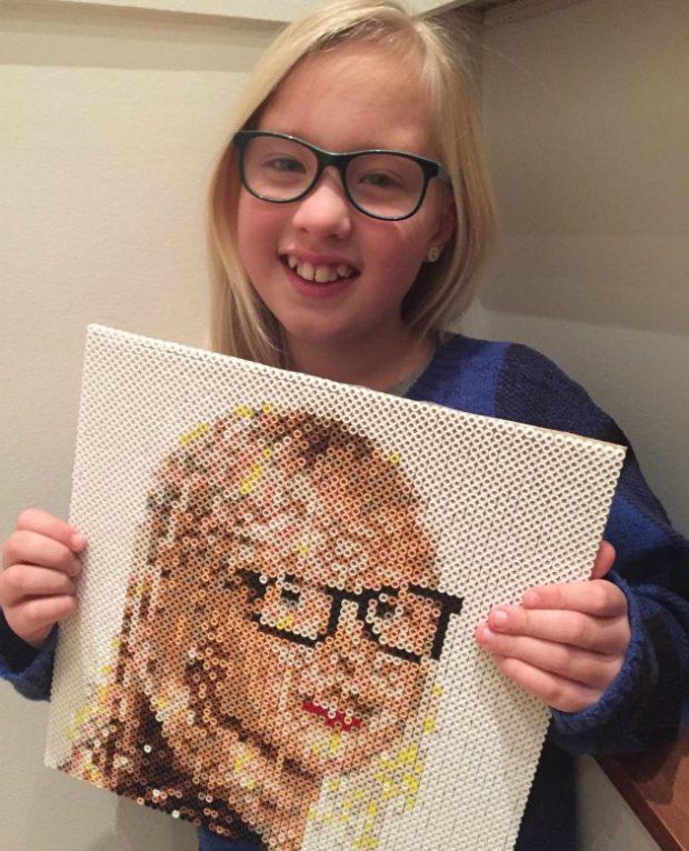 portræt lavet med nabbi fotoperler fra kreahobshop