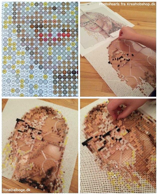 portræt lavet med nabbi rørperler fra kreahobhop photopearls