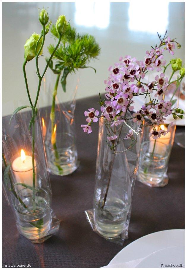 posevaser af cellofanposer og lysglas fra kreashop tinadalboge