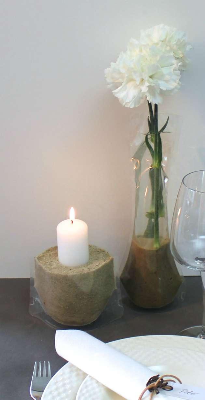 posevaser af plastik lavet til lysestager og vaser til bordpynt til fester