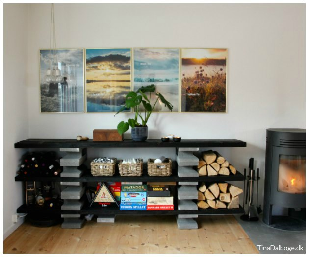 reol udekøkken eller plantebord af fundablokke og spærtræ
