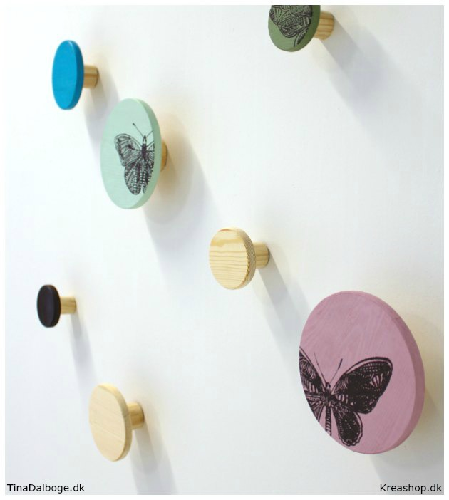 runde knager i forskellige farver med print