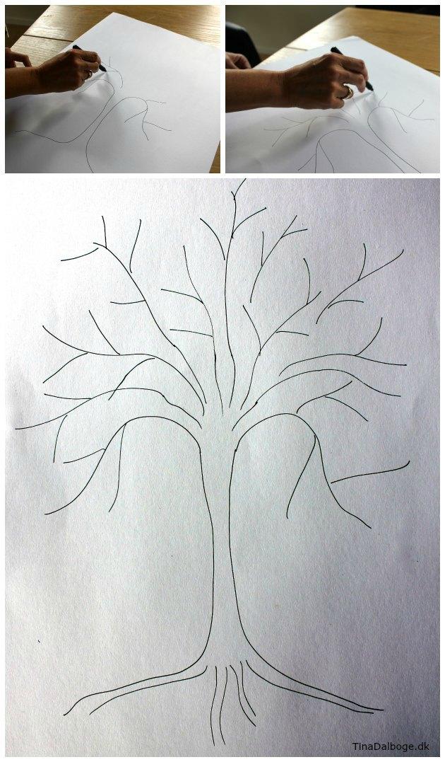 sådan tegner man et træ til fingeraftrykstræ ide til fester