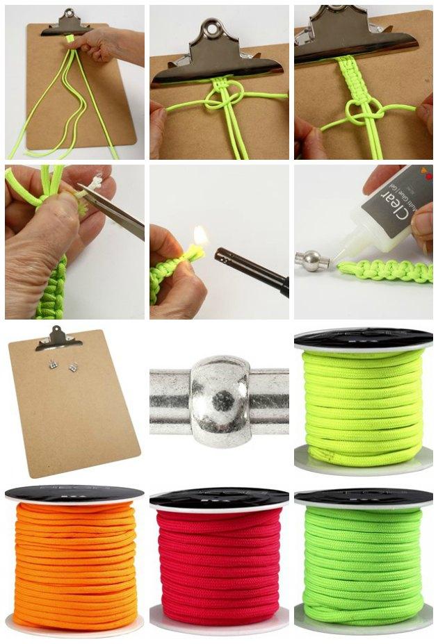 se hvordan du kan knytte et armbånd af faldskærmssnor