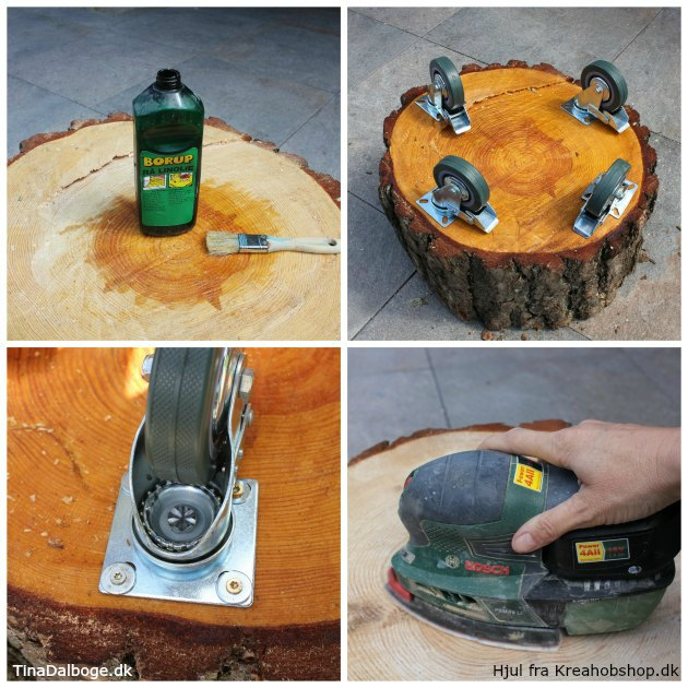 se hvordan man behandler en træstub og skruer møbelhjul under fra kreahobshop