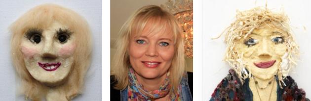 Her har Tina Dalbøge lavet selvportrætter af billige hverdagsting. På hendes kreative blog kan du læse mere om hvad hun tilbyder af kurser, workshops, foredrag og kreative e-bøger