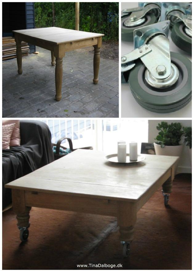 Se en forvandling af et lille spisebord til et råt sofabord ...