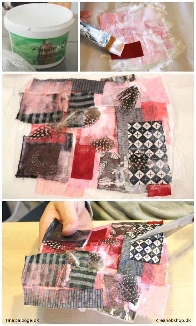 stjerner og hjerter lavet med paverpol stofrester og stråsilke papir