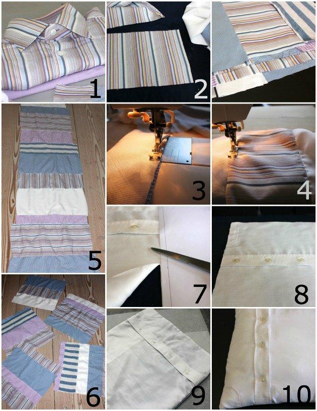 Lav gamle skjorter om til puder med print   og se smart detalje ...