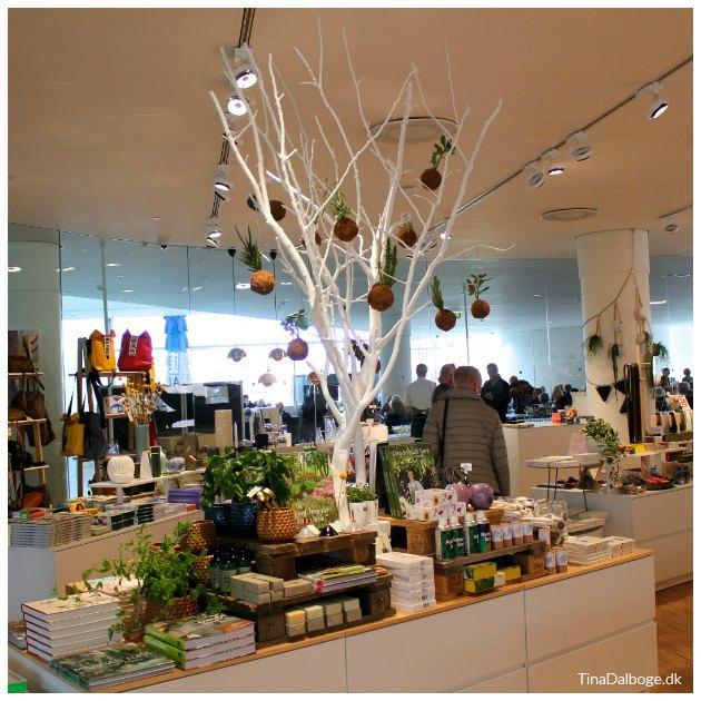 træ brugt til dekoration og staffage i butik tinadalboge