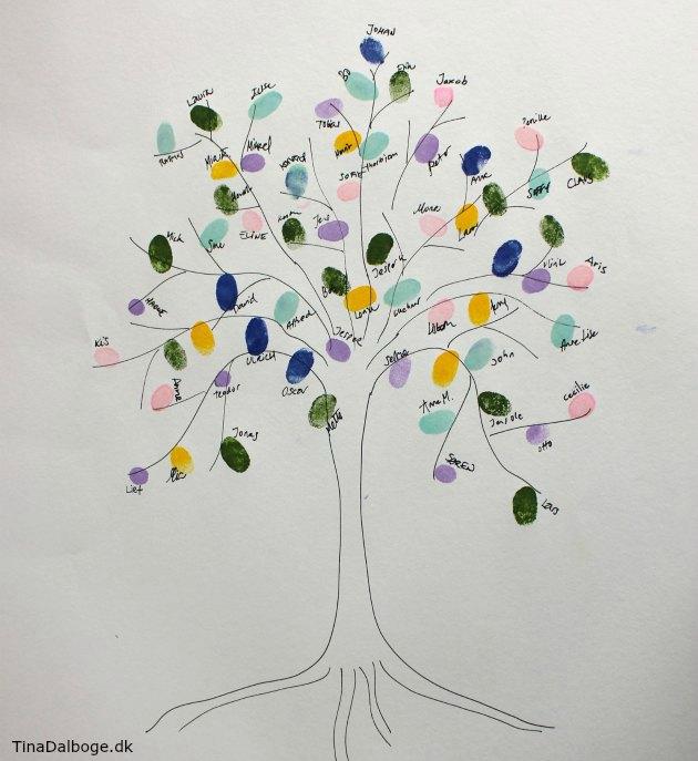 træ med fingeraftryk - ide til aktivitet som gæster kan lave til fester