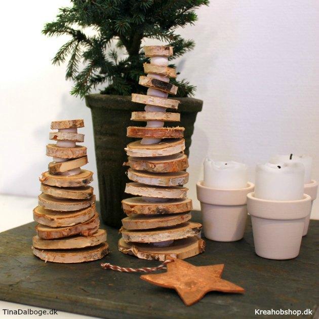 træer af træskiver træmix og silk clay ler fra kreahobshop