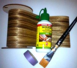 træfiner, maskingtape, lim og pensel