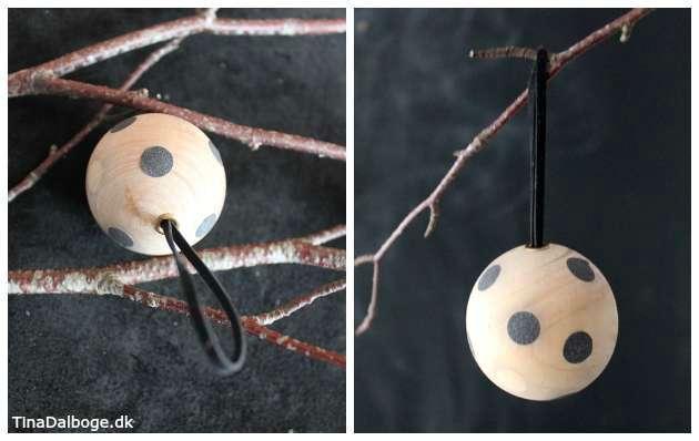 trækugler med pæn afslutning i ophæng af lædersnøre og snøreringe