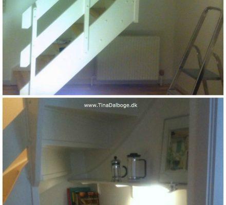 sådan kan man udnytte en plads under en trappe til opbevaring og pynteting