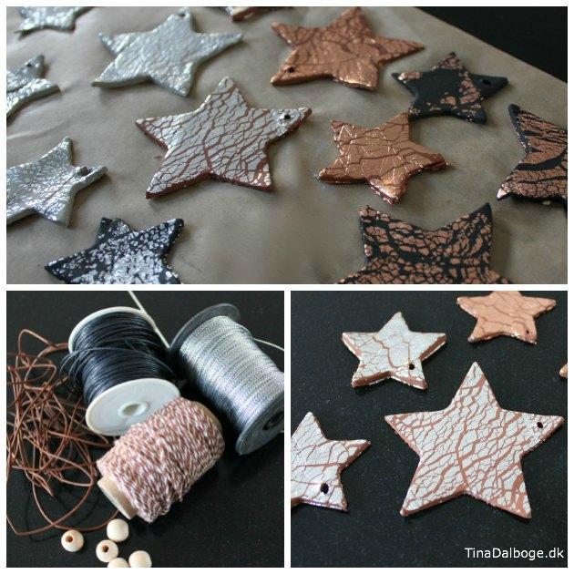 udstandsede stjerner i selvhaerdende ler med bladmetal tina dalboge