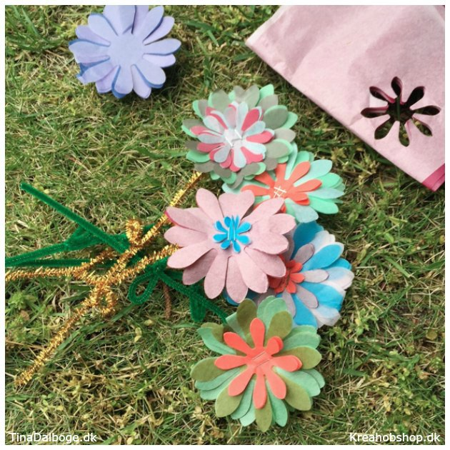 udstansede blomster af silkepapir kreativ hobby børn kan lave kreahobshop