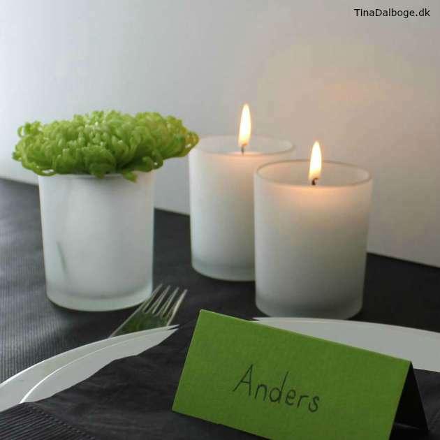 Lav en enkel bordpynt med limegrøn