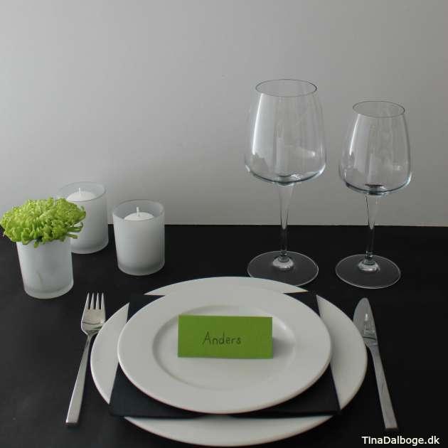 Idé til borddækning med limegrøn tema