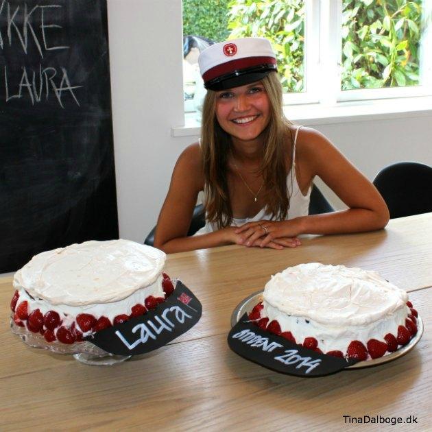 Laura Dalbøge som student - og lagkager der ligner studenterhuer