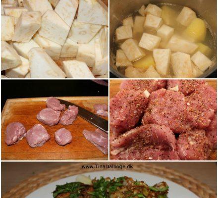 Weekendmad med svinemørbrad, mos, gulerødder, porre og spidskål