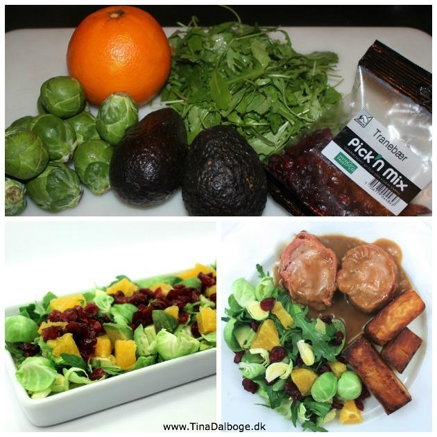 Salat med rucula, rosenkål, appelsin, avokado og tranebær